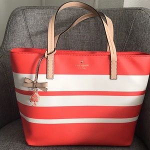NWT Kate Spade white / orange stripes handbag